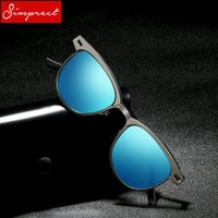 263af0212ed rounded sunglasses men blue Canada - SIMPRECT Round Polarized Sunglasses Men  Metal Driver Mirror Blue Sun