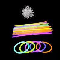 Wholesale Rave Necklace - Multi Color Fluorescence Light Glow Sticks Bracelets Neon Necklaces Rally Raves Light-Up Toy Christmas Party Concert Toy