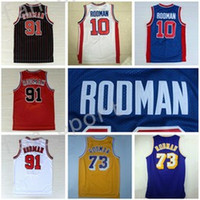 Wholesale Flashing Fashion - Retro 73 Dennis Rodman Jersey 10 Rev 30 New Material 91 Throwback Fashion Uniform Home Blue Yellow White Red Stitched With Name Size S-3XL