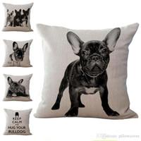 ingrosso cuscini francesi-Bulldog francese Dog Pillow Case Cuscino In Cotone Lino Tiro Federe divano Letto Cuscino copre il trasporto di goccia PW367