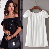 Wholesale casual off one shoulder dresses - Women One Piece Dress Sexy Off Shoulder Rompers Loose Clothes Summer Shirt With Short Sleeve Woman Sexy Shirts Clothes Free Shipping