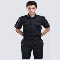 taktik pantolon gömlek toptan satış-Açık Yaz Erkek Avcılık Giyim Siyah Şahin Takım Elbise Eğitim Taktik Güvenlik Kısa Kollu Setleri Gömlek + pantolon CS Setleri