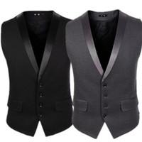 Wholesale formal american suit for slim resale online - 2020 New Groom Vests For Wedding Party Groomsmen Vests Slim Fit Men s Vests Plus Size British Style Attire Waistcoat Wear Business Suit
