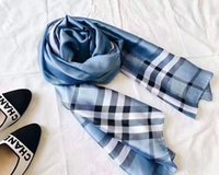 Wholesale Long Spring Scarf For Women - Hot Luxury Brand Silk scarf for Women 2018 Spring Designer Plaid Long Scarves Wrap With Tag 180x90Cm Shawls Designer Scarf for women s221