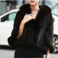 ingrosso giacca di pelliccia di maglia del visone-HARPPIHOP New Genuine Knit Mink Pelliccia di visone scialle Poncho con Fox Taglio Reale Pelliccia di visone Giacca Moda Donna 2016 Style Pelliccia di visone