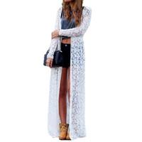 Wholesale Short Sleeve Crochet Top - 2017 Women Outwear Lace Crochet Blusas Long Sleeve Beach Kimono Cardigan Casual Loose Long Blouses Solid Tops Plus Size Shirt