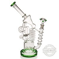 Wholesale silicone big - Big bong wate glass bong Recycler water pipe Oil rigs Hookahs silicone bong18.8mm bong joint Multiple loop filtration Glass bubler 420