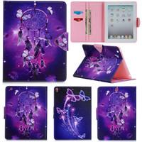 apfel windspiele großhandel-Luxus lila Windspiele Malerei Brieftasche PU Leder stehen Flip Fall für Apple iPad 2 3 4 Tasche für iPad Air 2
