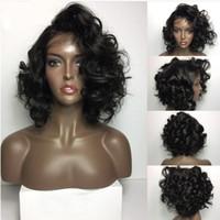 erkekler saçlı kadın perukları toptan satış-LIN ADAM İnsan Saç Gevşek Dalga 100% Gerçek Saç Malezya Saç kadınlar için Tutkalsız Ön Dantel Peruk 130 Yoğunluk Doğal renk
