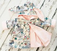 Wholesale Toddler Baby Jackets - Everweekend Girls Cartoon Floral Print Bunny Ears Jackets Sweet Toddler Baby Cute Fashion Spring Fall Winter Outwears