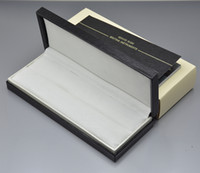 Wholesale ball pen case - High Quality Black wood leather Pen Box Suit For mb Fountain Pen   Ballpoint Pen   Roller Ball Pens Pencil Case with The Warranty Manual A8