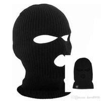 black ski mask toptan satış-Siyah Örgü 3 Delik Kayak Maskesi BALACLAVA Şapka Yüz Kalkanı Bere Kap Kar Kış Sıcak 2018 yaz moda