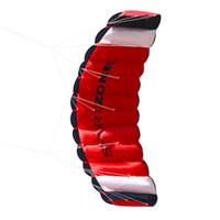 pipas de dupla linha dublê venda por atacado-2018 Dual Line Parachute Stunt Kite com Ferramentas Voadoras Parafoil Kite Brinquedos para Crianças Adulto Praia Ao Ar Livre Diversão Esportes Kite