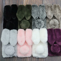 Wholesale iphone case 3d girl for sale - 3D Rabbit Ear Genuine Hair Case For iPhone XR XS Iphone XS MAX inch Tail Bling Diamond Fluffy Fur Cover Girl Soft TPU Gel Cute