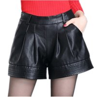 Wholesale Leather Shorts Elastic Waist - High waist Women leather shorts Spring Autumn Casual PU leathe Mosaic Ladies Skinny Black Wide leg super shorts Girls