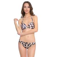 Wholesale brazilian swimwear leopard online - Women Bikini Set Swimwear Sexy Swimsuit Push Up Beachwear Beach Swim Wear Suit High Waist Brazilian Leopard Bandage