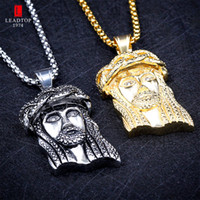 Wholesale Wholesale Jesus Pieces - Religious Jesus Piece Charm Pendant Christ Necklace with Handset Round CZ Stone Stainless Steel Gold Hip Hop Jewelry