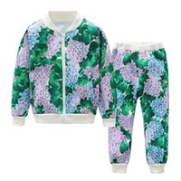 kızlar için renkli pantolon toptan satış-2 Adet Bebek Çocuk Erkek Kız Çiçek Baskılı Beyzbol Ceket Kaban + Pantolon Setleri Kıyafetler 2 Renk 7 Boyutu