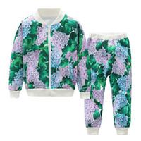 Wholesale baby baseball jackets - 2Pcs Baby Kids Boys Girls Flower Printed Baseball Jacket Coat+Pants Sets Outfits 2 Colour 7 Size