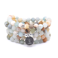 Wholesale frost beads resale online - NEW Fashion Women bracelet Matte Frosted Amazonite beads with Lotus OM Buddha Charm Yoga Bracelet mala necklace dropshipping