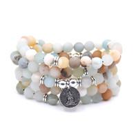 perles de givre achat en gros de-NOUVEAU Mode femmes bracelet Matte Givré Amazonite perles avec Lotus OM Bouddha Charme Yoga Bracelet 108 collier mala dropshipping