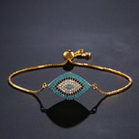 bracelete do encanto do olho mau do olho venda por atacado-NEWBUY 2018 Trendy Turquesa Ouro Mal Olho Pulseira Pavimentar CZ Olho Azul Cadeia De Ouro Pulseira Ajustável Feminino Partido Jóias