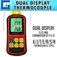 Wholesale k type digital thermometer - THE-32 Digital K J T E R S N Type Thermocouple Thermometer Dual-channel LCD Display -150~1767°C ATC Meter