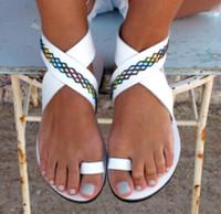 flache trocken-sandalen großhandel-Damen Sandalen Strand Flachen Sandalen Mischfarbe Damenmode Comfort Schwarz Schuhe weiß Große Größe 36-43