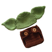 Wholesale Handmade Diapers - 2pcs Baby Boys Girls Toddler Infant Photography Prop 100% Handmade Crochet Green Hat + Brown Diaper Cover