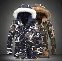 Wholesale mens fur jackets for winter for sale - Group buy Mens Slim Fit Camo Coats Fashion Fur Like Hooded Warm Jackets for Winter Plus Size Ribbed Sleeve Outerwears M XL