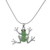 yılan şeklinde kolye zinciri toptan satış-Benim şekli Gümüş Kaplama Yeşil Kristal Taş Kurbağa Charm Bildirimi Kadınlar için Kolye Kolye Yılan Zinciri Boho Kolye