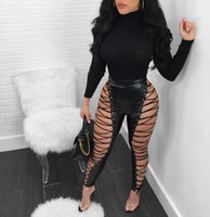 Wholesale Sexy Women S Costumes - 2018 Hot Fashion Sleeve Ladies Sexy Bodycon Costume Summer O-neck Women Pants Solid Sexy Club Pants S-2XL