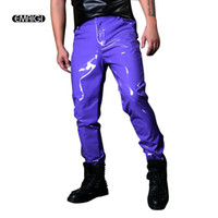 ingrosso pantaloni in pelle viola-Costumi di scena su misura Uomo Pantalone in pelle casual viola Maschile Fashion Show Cantante Ballerino Hip Hop Pantaloni stile Slim Fit