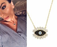 evil eye necklace black 2018 - 2018 New design Korean fashion Pave shiny Turke evil Eye CZ Pendant shiny Crystal Magic black Eyelash Necklace cute girl women charm Jewelry