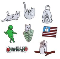 Wholesale indian clothing for women - Funny Exaggerated Cat Letters Aliens Cute Brooches Pins Small Size Hard Enamel Lapel Pis For Women Men Children Clothes Backpack Badge New