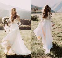 Wholesale empire neck elastic wedding dresses online - 2018 Cheap A Line Empire Wedding Dresses Country Long Sleeves Lace Applique Beach Bohemian Jewel Neck Illusion Plus Size Formal Bridal Gowns