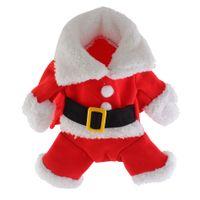 ingrosso cuccioli di orsacchiotto-Christmas Pet Costume da Babbo Natale Costumi Outfit per Cucciolo di gatto piccolo Cucciolo Tuta Felpe Abbigliamento con cappello per cucciolo di orsacchiotto