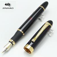 pluma ejecutiva negra al por mayor-JINHAO X450 negro de alta calidad con la pluma del barril de vino brillante 18KGP 0.7mm Broad Nib Executive School Plumas de escritura Supplie Supply