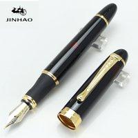 ingrosso fontane-JINHAO X450 Nero di alta qualità con luccicante barilotto di vino penna stilografica 18KGP 0.7mm di larghezza pennino Executive SchoolOffice Supplie penne di scrittura