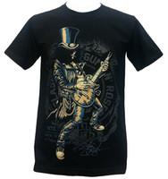 мужская гитара оптовых-Пользовательские футболки с коротким рукавом мужчины подарок Слэш соло гитары пушки N розы американский хард-рок-группа футболка черный круглый вырез рубашки