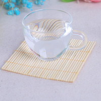 ingrosso regali naturali di bambù-Bambooes Cup Mats Creative Home Natural Bamboo Pads Table Placemat Forniture di nozze Cerimonia Regali Tavoli Decor 4yk ff