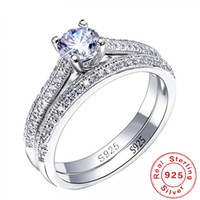 Wholesale simple bridal jewelry sets resale online - 100 Sterling Silver Rings for Women Double Simple Design Ring Bijoux Femme Bridal Wedding Jewelry Engagement Accessories S18101001