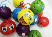 Wholesale toy foam balls - 2018 6.3CM Soft PU Funny Emoji Face Stress Balls Squeeze Foam Ball Novelty Relax Toys Assorted Expression A491