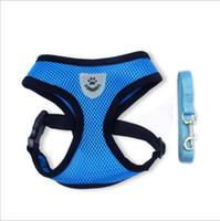 Wholesale comfort sets - Breathable Mesh Dog Harness and Leash Set Dog Traction Comfort Breathable Mesh Chest Strap Dog Vest Puppy Vest 4 Colors Pet Supplies YFA187