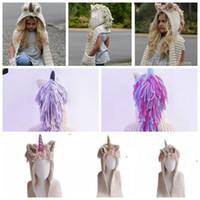 şapka kızı fotoğrafı toptan satış-Eşarp Boys Kızlar ile tığ Unicorn Kış Şapka Kapşonlu Örgü Bere Cosplay Fotoğraf Prop Kapşonlu Pelerinler Püsküller Eşarp şapka KKA6121