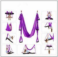 Wholesale fitness month - 18 Colors 250*150cm Air Flying Yoga Hammock Aerial Yoga Hammock Belt Fitness Swing Hammock With 440Lb Load CCA9761 6pcs