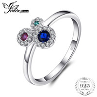 ingrosso anello rubino blu-Jewelrypalace Muticolor 3 Stones Creato Blue Spinel Ruby Nano Russian Simulato Emerald Rings 925 Sterling Silver Jewelry