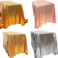 düğün dekorasyonları masa örtüleri toptan satış-Sparkly Altın / Gümüş 100x150 cm Pullu Glamorous Masa Örtüsü / Kumaş Düğün Parti Olay Masa Süslemeleri için