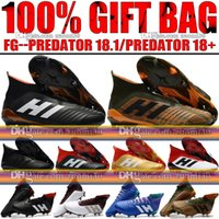 Wholesale Leather Shoelaces - New 2018 Mens High Ankle Football Boots Predator 18 FG Laceless Soccer Cleats Socks Top Outdoor Predator 18.1 Soccer Shoes Without Shoelace