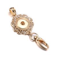 bayan anahtarlıkları toptan satış-Yeni Yapış Takı Rhinestones 18mm Yapış Anahtarlıklar Kordon Kanca Anahtarlık Fit Takı kadın Moda anahtarlık